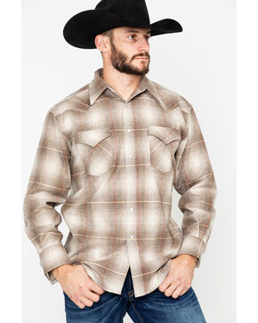 Pendleton Men's Canyon Tan Long Sleeve Western Flannel Shirt , Tan, hi-res