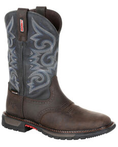 Rocky Women's Original Ride FLX Waterproof Western Work Boots - Soft Toe, Chocolate, hi-res