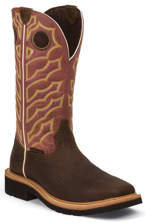 Justin Original Work Boots Men's Dark Chestnut Pull-On Hybred Work Boots - Steel Toe , Chestnut, hi-res