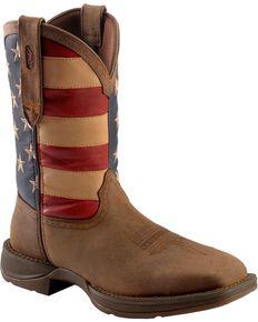 Durango Rebel Men's American Flag Cowboy Boots - Steel Toe, Brown, hi-res
