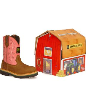 John Deere Toddler Boys' Johnny Poppers Boots, Pink, hi-res