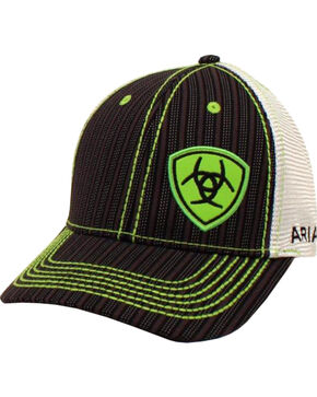 Ariat Men's Black Pinstripe Pattern Lime Shield Baseball Cap , Black, hi-res