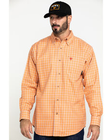 Ariat Men's FR Orange Excavator Plaid Long Sleeve Work Shirt - Tall , Orange, hi-res
