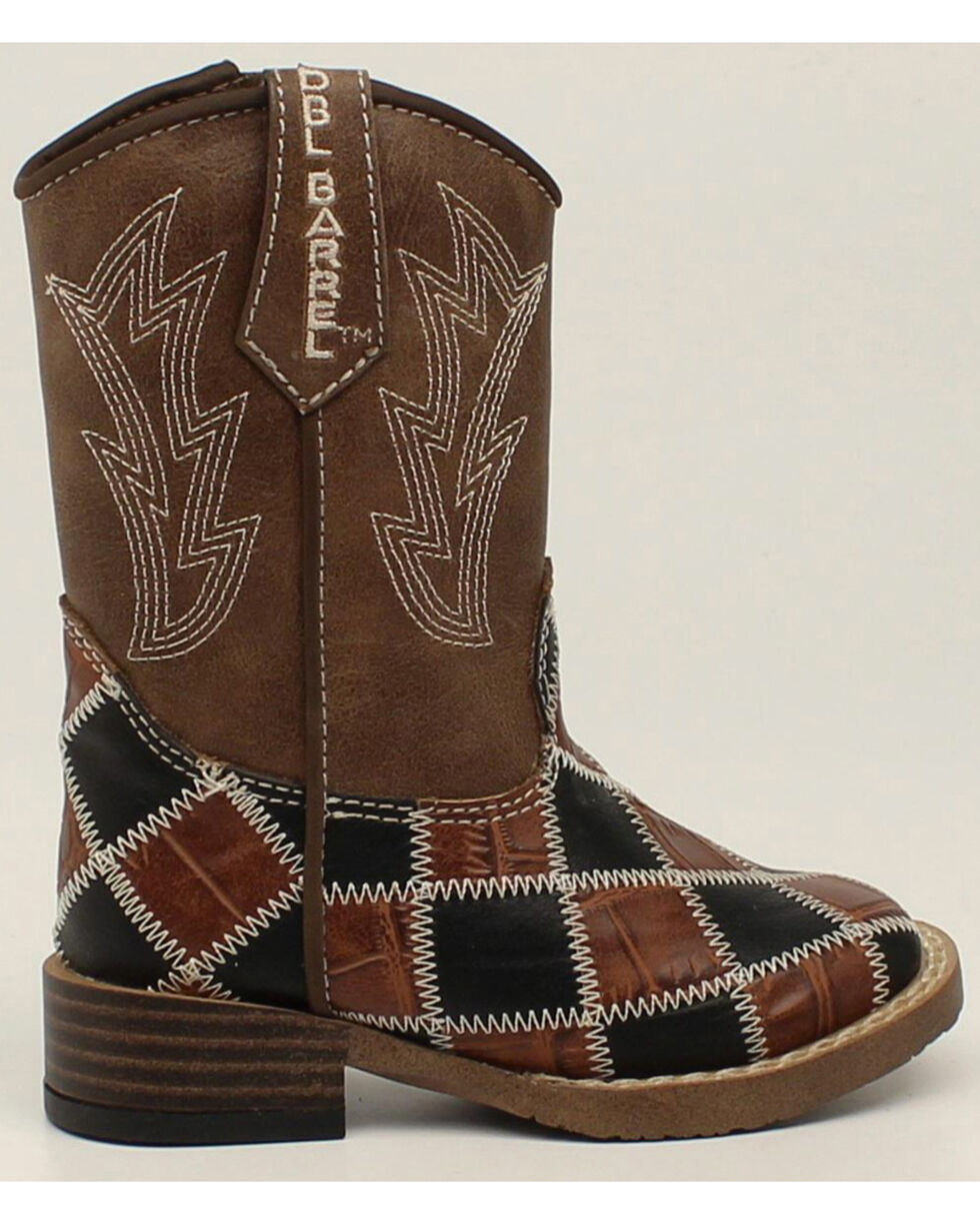 Double Barrel Boys' Andy Zip Patchwork Boots - Square Toe, Brown, hi-res