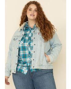 Levi's Women's Light Wash Sherpa Lined Collar Jacket, Blue, hi-res