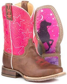 Tin Haul Girls' Puffy Stars Western Boots - Square Toe, Brown, hi-res