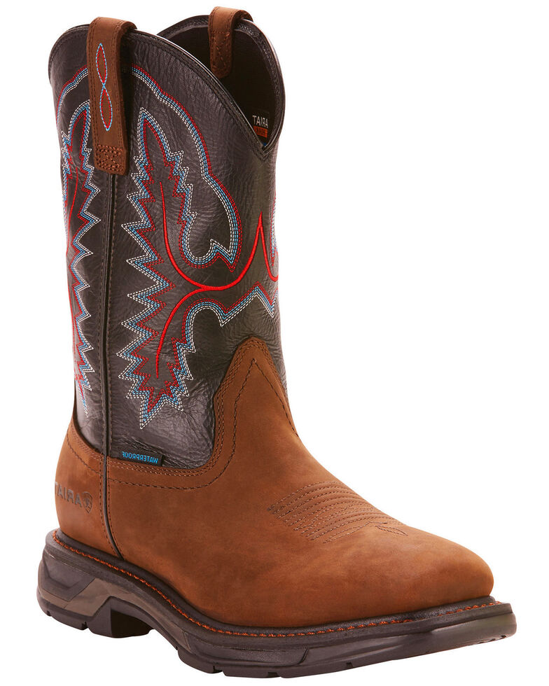 Ariat Men's Dark Brown Workhog XT H20 Boots - Wide Square Toe, Brown, hi-res