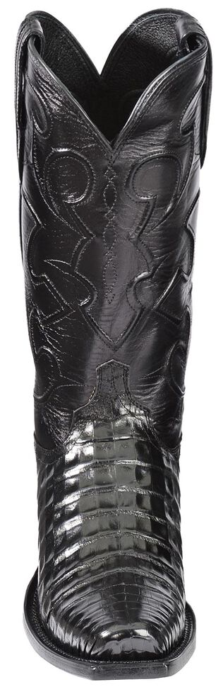 Lucchese 1883 Charles Croc Belly Cowboy Boots - Snip Toe, Black, hi-res