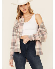 By Together Women's Pink Plaid Long Sleeve Button-Down Western Flannel Shirt , Pink, hi-res