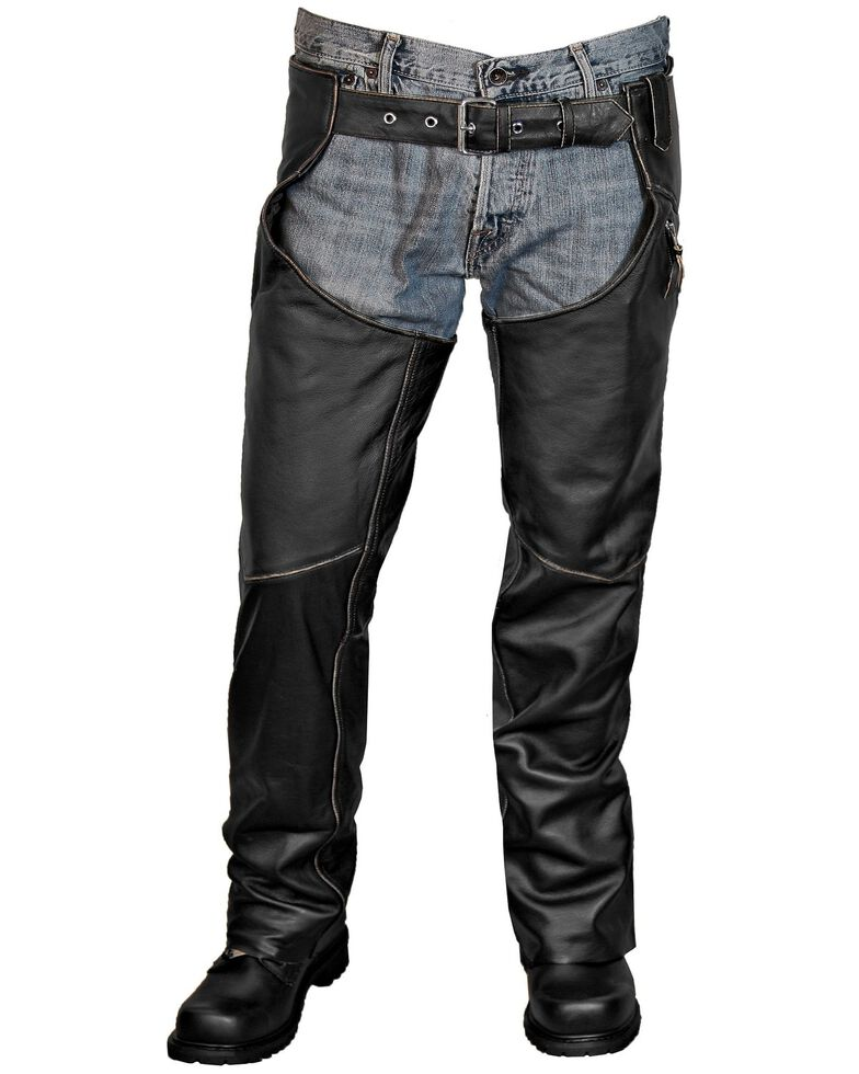 Interstate Leather Gangster Chaps, Black, hi-res
