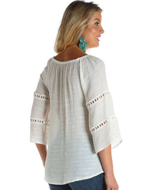 Wrangler Women's Ivory Lace Insets Fashion Top , Ivory, hi-res
