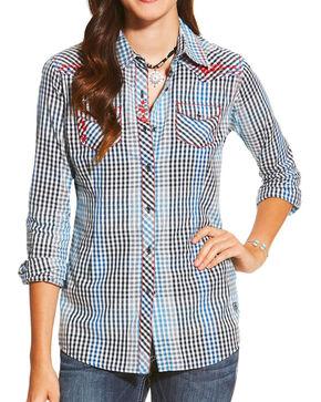 Ariat Women's American Rose Plaid Western Long Sleeve Shirt, Multi, hi-res