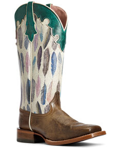 Ariat Women's Fonda Watercolor Western Boots - Wide Square Toe, Grey, hi-res