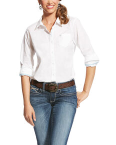 Ariat Women's Kirby White Stretch Button Down Long Sleeve Shirt , White, hi-res