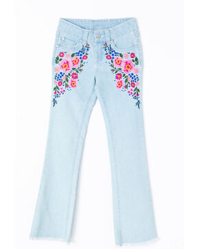 Shyanne Girls' Floral Embroidered Flare Hem Denim Jeans , Blue, hi-res