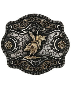 Montana Silversmiths Men's A-Blaze Filigree Framed Bull Rider Belt Buckle, No Color, hi-res