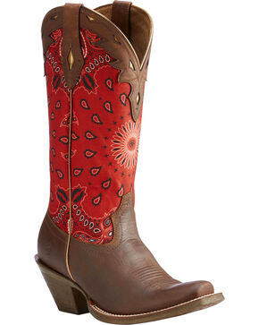 Ariat Women's Brown Circuit Cheyenne Western Boots - Square Toe , Brown, hi-res