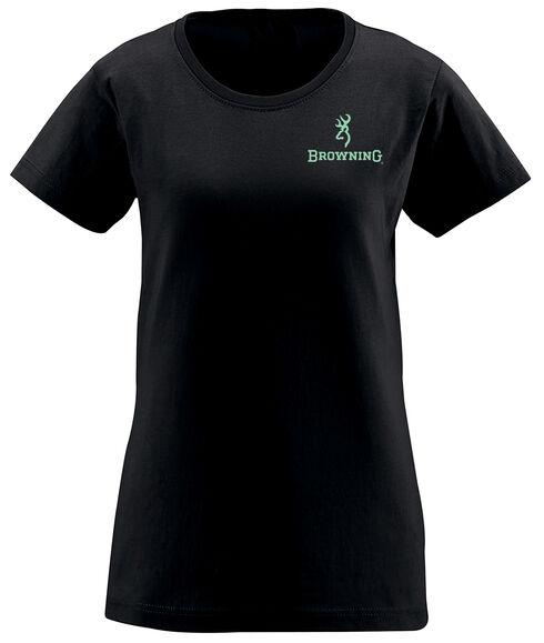 Browning Women's Mossy Oak Country Buckheart Black Short Sleeve Tee, Black, hi-res