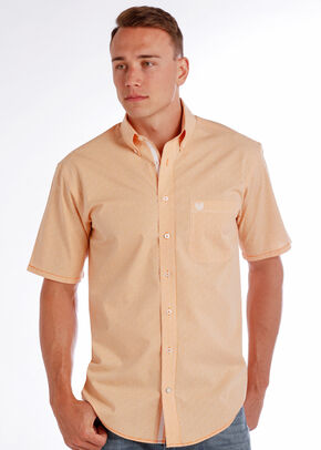 Rough Stock by Panhandle Men's Democracy Vintage Shirt , Orange, hi-res
