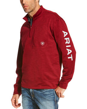 Ariat Men's Burgundy Team Logo 1/4 Zip Pullover , Burgundy, hi-res