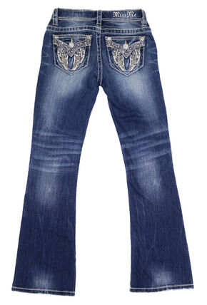 Miss Me Girls' Angel Wing Embroidered Jeans - Boot Cut , Indigo, hi-res