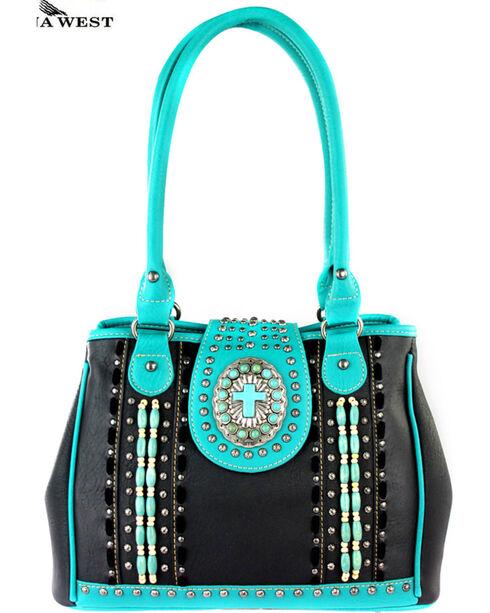 Montana West Spiritual Collection Satchel Handbag, Black, hi-res