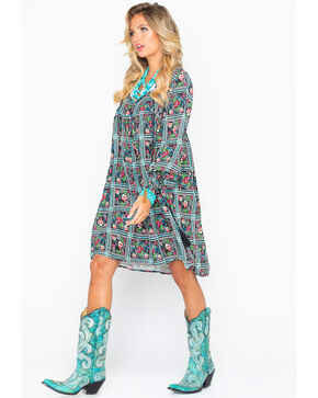 Rock & Roll Cowgirl Women's Flower Print Shift Dress , Black, hi-res
