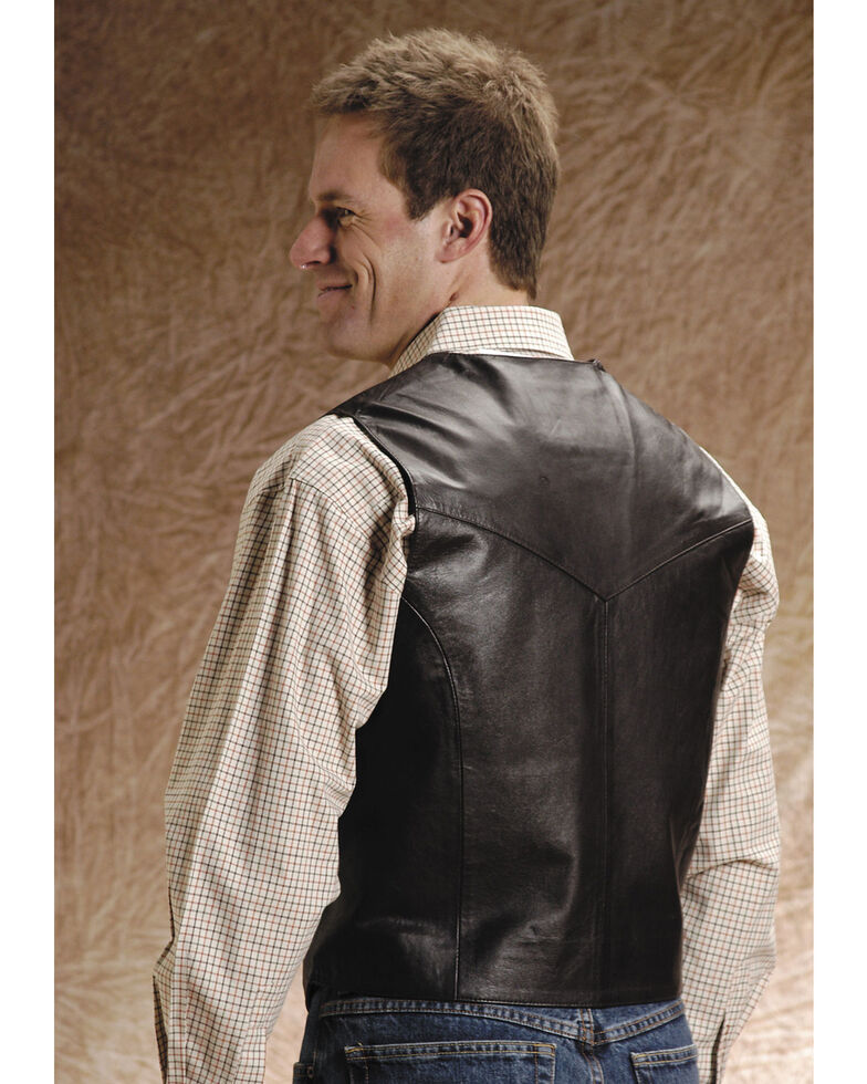 Roper Men's Leather Vest - Big & Tall, Brown, hi-res