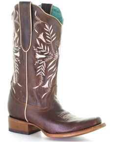 Corral Women's Brown Embroidery Western Boots - Square Toe, Brown, hi-res