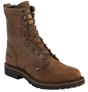 "Justin Wyoming Waterproof 8"" Lace-Up Work Boots - Steel Toe, Brown, hi-res"