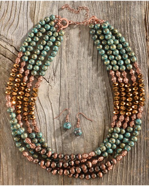 Shyanne Women's Patina Copper Beaded Jewelry Set, Rust Copper, hi-res