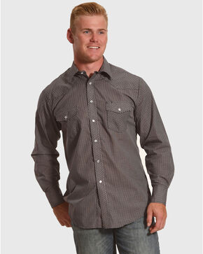Roper Men's Mini Check Long Sleeve Western Snap Shirt, Navy, hi-res
