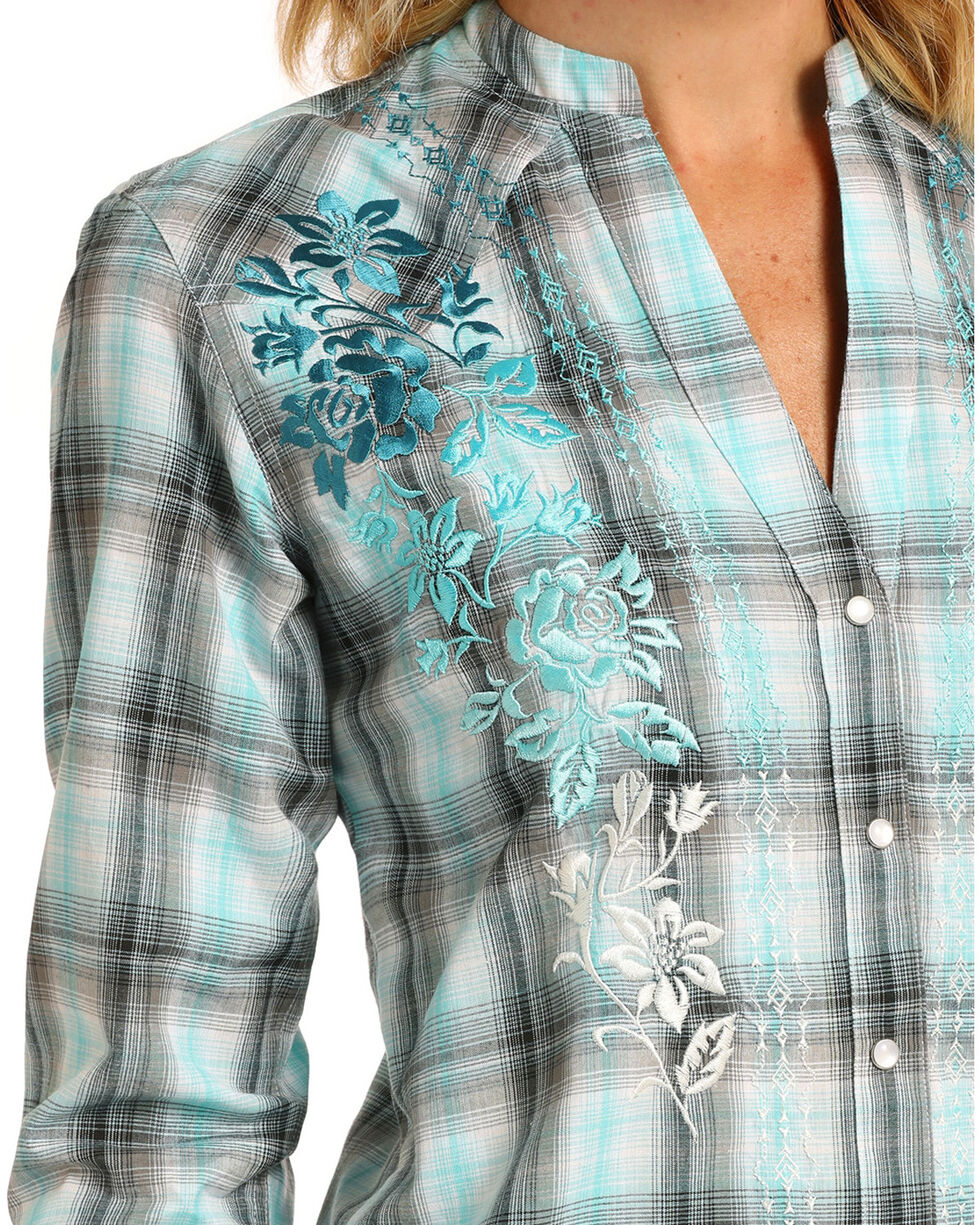 Panhandle Women's Blue Plaid Embroidered Snap Tunic, Blue, hi-res
