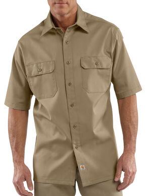 Carhartt Twill Work Short Sleeve Work Shirt - Big & Tall, Khaki, hi-res