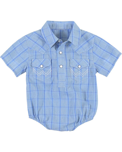 Wrangler Infant Boys' Blue Plaid Onesie , Blue, hi-res