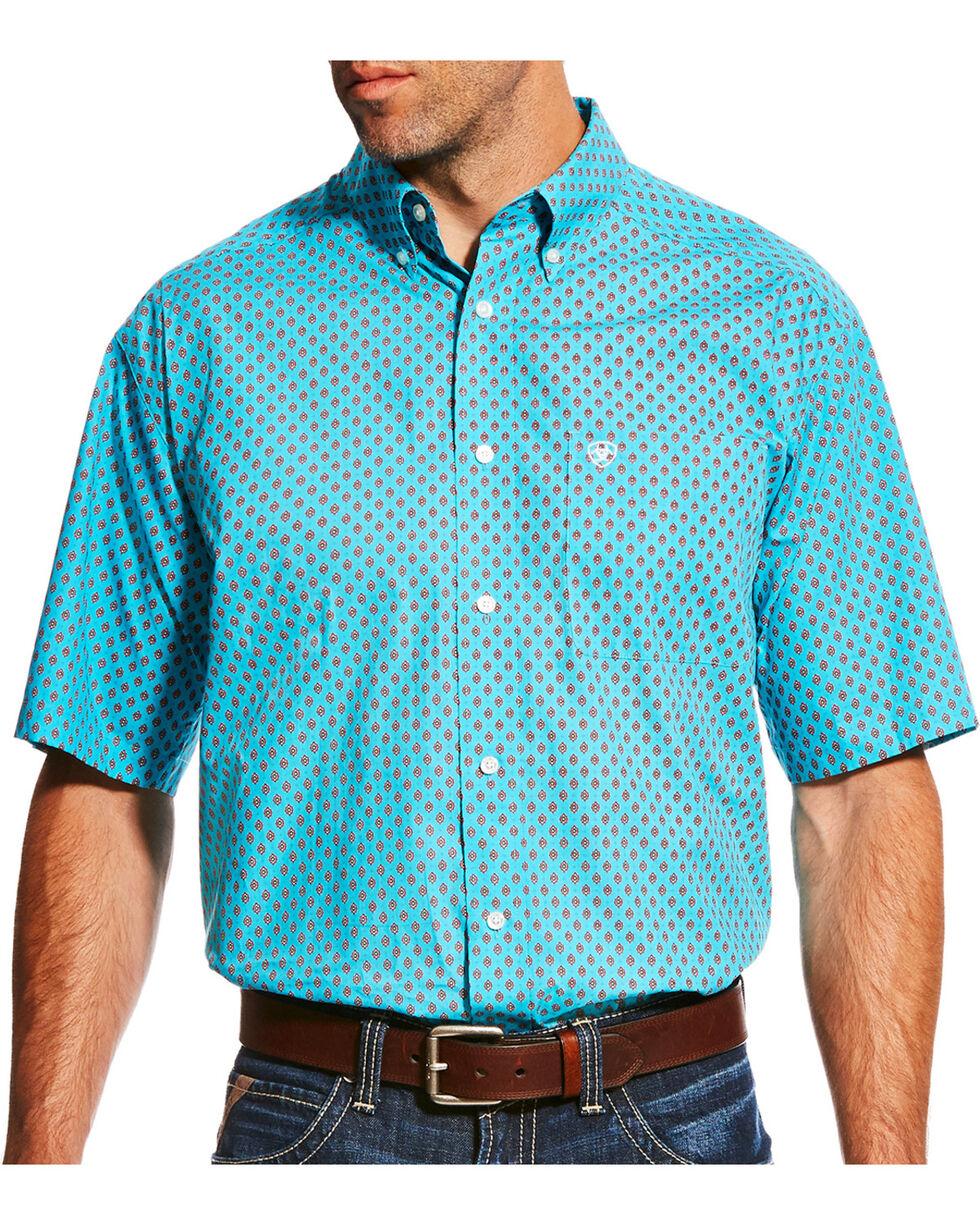 Ariat Men's Blue Nico Print Short Sleeve Shirt , , hi-res