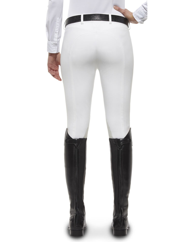 Ariat Women's Olympia Zip-Front Low Rise Knee Patch Breeches, White, hi-res