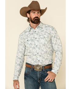 Moonshine Spirit Men's White Camo Floral Print Long Sleeve Western Shirt , White, hi-res