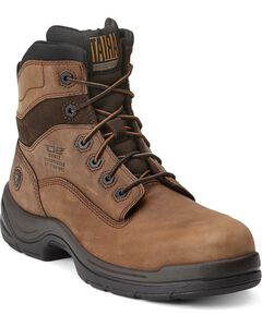 """Ariat Flex Pro 6"""" Lace-Up Distressed Work Boots - Composition Toe, Brown, hi-res"""