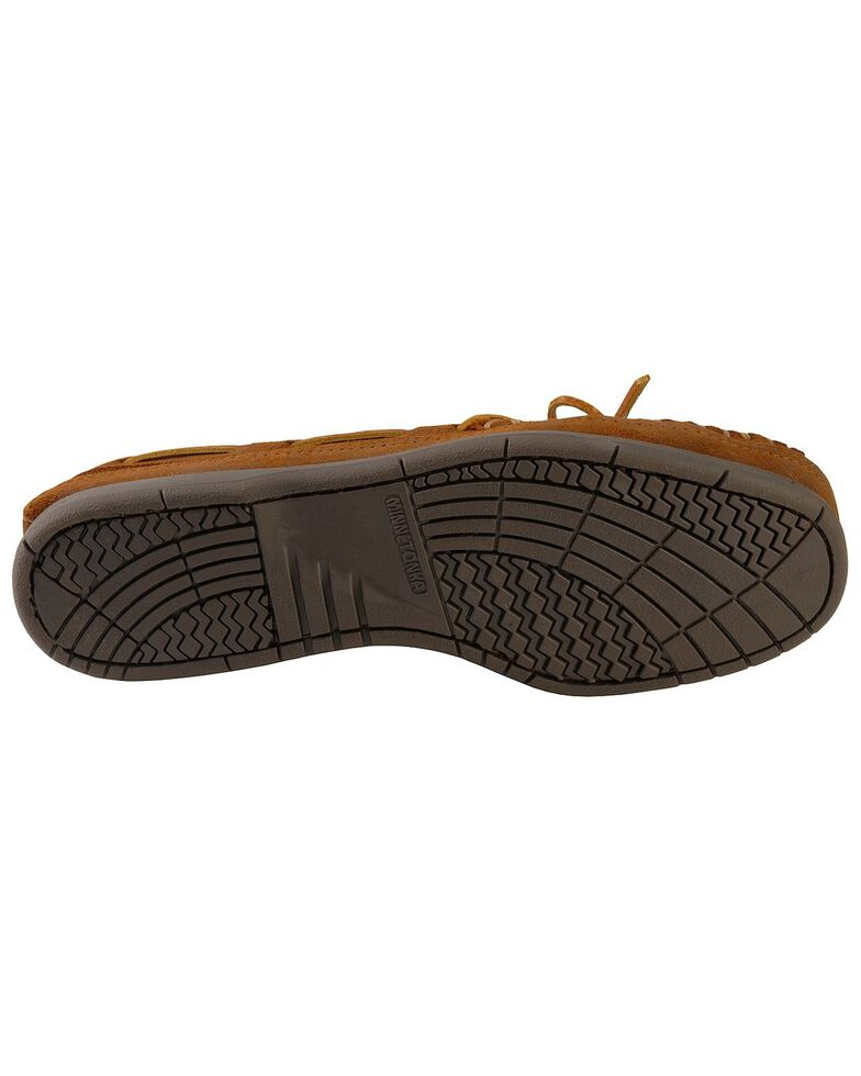 Men's Minnetonka Double Bottom Hardsole Moccasins, Brown, hi-res