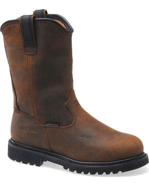"Carolina Men's Dark Brown Line Builder INT Wellington 12"" Work Boots - Alloy Toe, Dark Brown, hi-res"