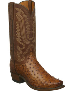 Lucchese Men's Handmade Luke Full Quill Ostrich Western Boots - Snip Toe, Tan, hi-res
