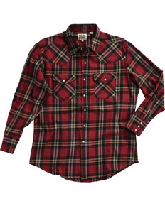 Ely Cattleman Men's Red Brawny Flannel Long Sleeve Snap Shirt, Black, hi-res