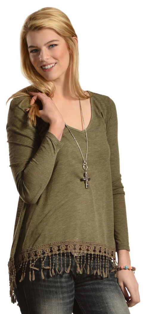 Others Follow Women's Swept Away Fringe Top, Olive, hi-res