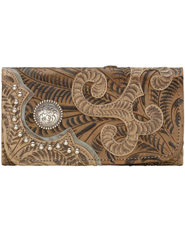 American West Women's Hand Tooled Tri-Fold Wallet, Sand, hi-res