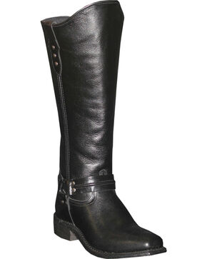 Abilene Women's Black Equestrian Wellington Boots - Square Toe  , Black, hi-res