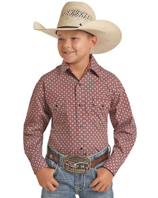 Panhandle Select Boys' Red Diamond Floral Geo Print Long Sleeve Western Shirt , Red, hi-res