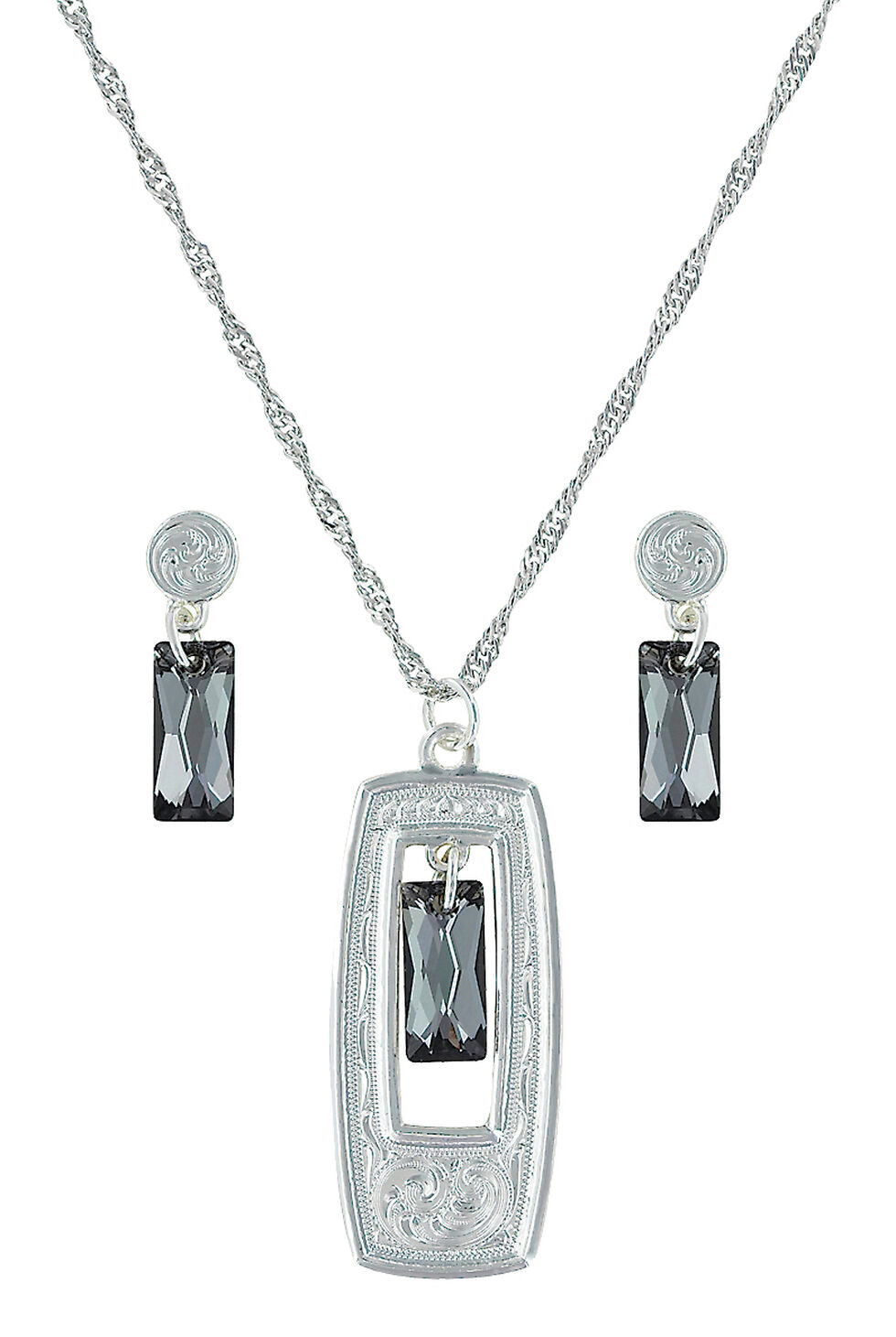 Montana Silversmiths Elegant Smoky Looking Glass Jewelry Set  , Silver, hi-res