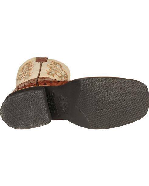 Justin AQHA Full Quill Ostrich Cowboy Boots - Square Toe, Brown, hi-res