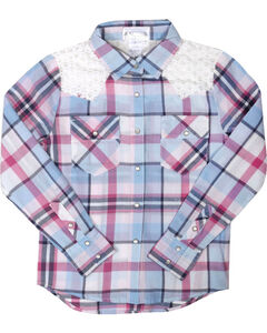 Shyanne Girls' Plaid Crochet Long Sleeve Shirt , Multi, hi-res